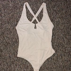 Cream Bodysuit with Crossed Back